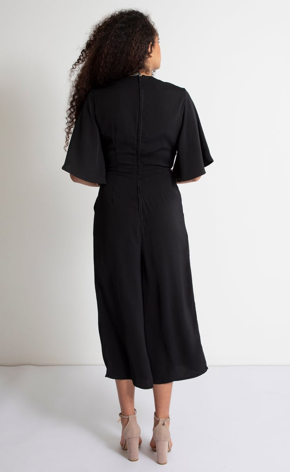 Tie Front Kimono Jumpsuit Black