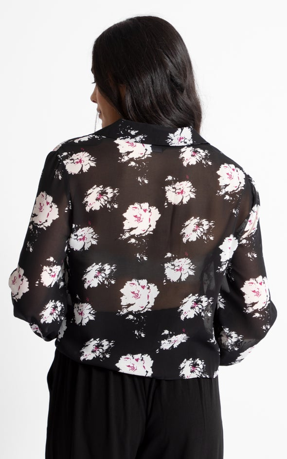 Tie Front Printed Shirt Blk White
