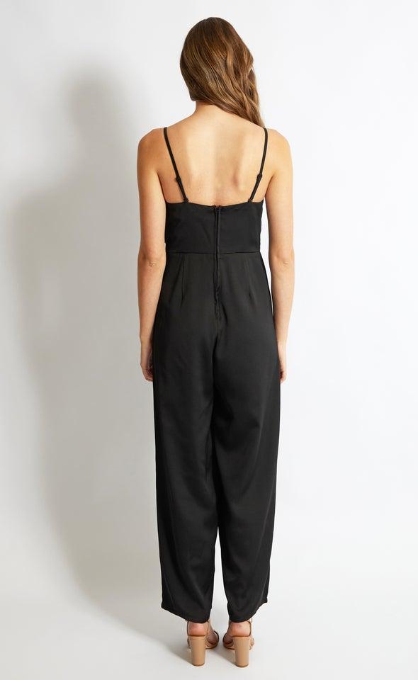 Tie Front Strapless Jumpsuit Black