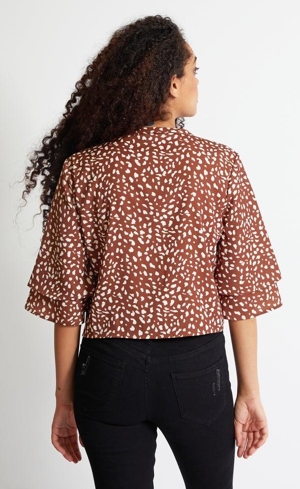 Tie Hem Printed Shirt Terracotta Print