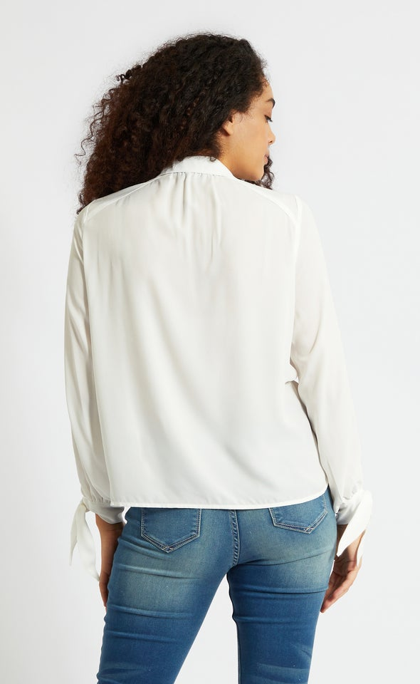 Tie Sleeve CDC Shirt White