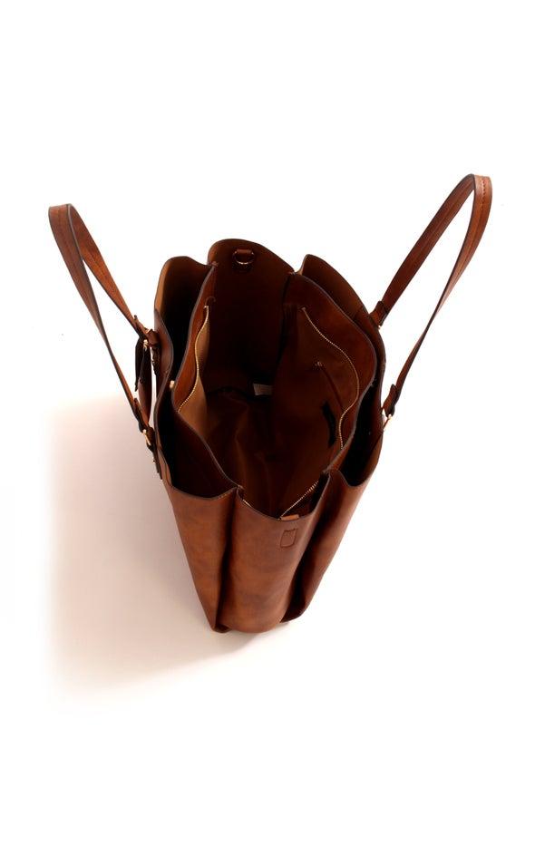Triple Pocket Shoulder Bag Tan