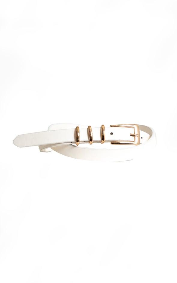 Triple Ring Jean Belt White