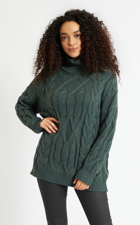 Turtle Neck Soft Cable Knit Sweater Forest