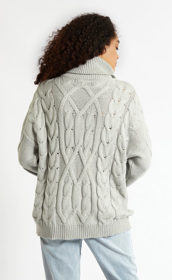 Turtle Neck Soft Cable Knit Sweater Grey Marle