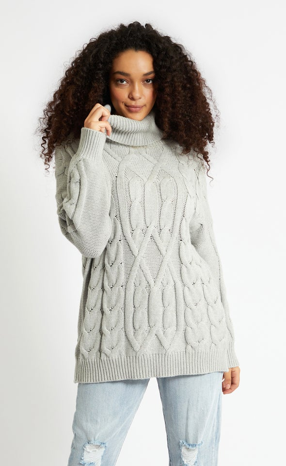 Turtle Neck Soft Cable Knit Sweater