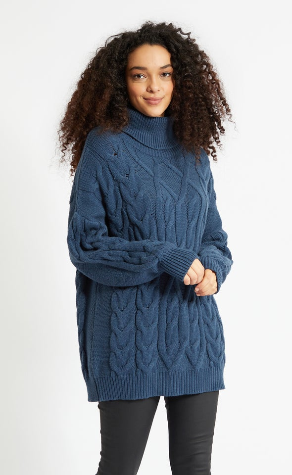 Turtle Neck Soft Cable Knit Sweater Ink