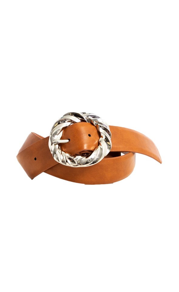 Twist Metal Buckle Belt Silver/tan