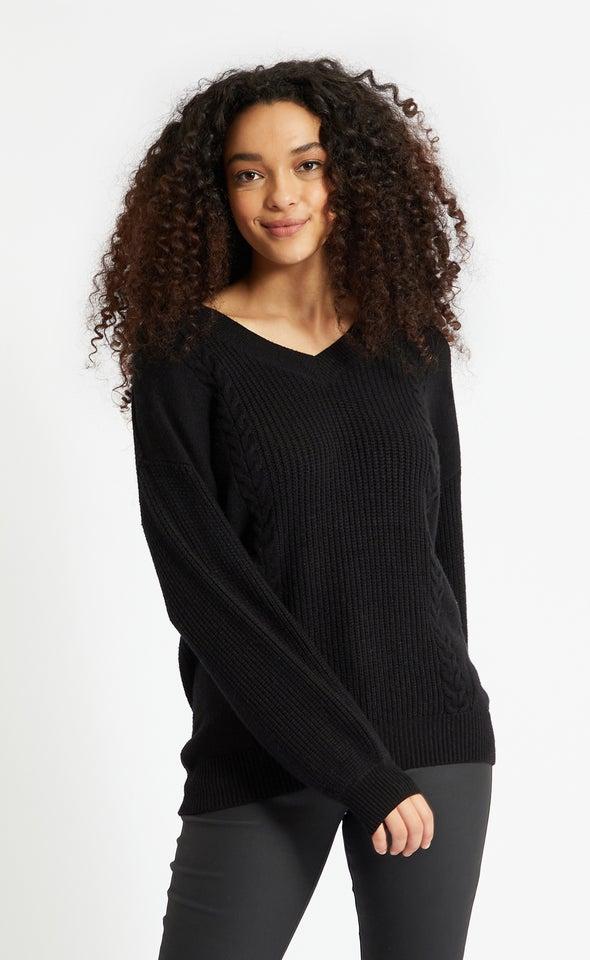 V Neck Soft Cable Sweater Black