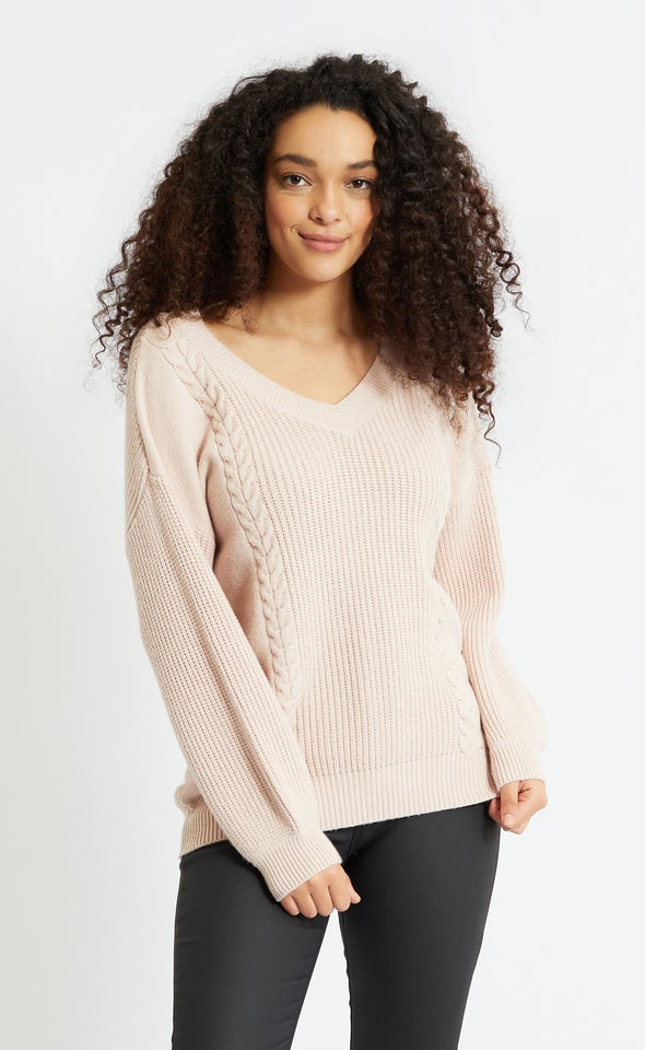 V Neck Soft Cable Sweater