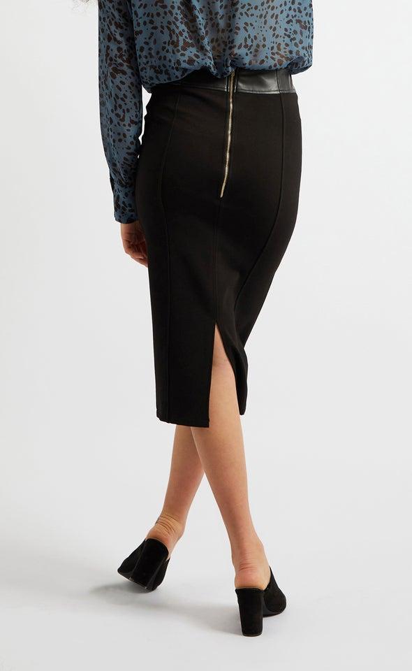 Vegan Leather High Waist Midi Skirt Black