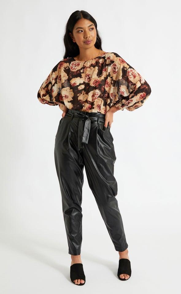 Vegan Leather Tie Waist Tapered Pant Black
