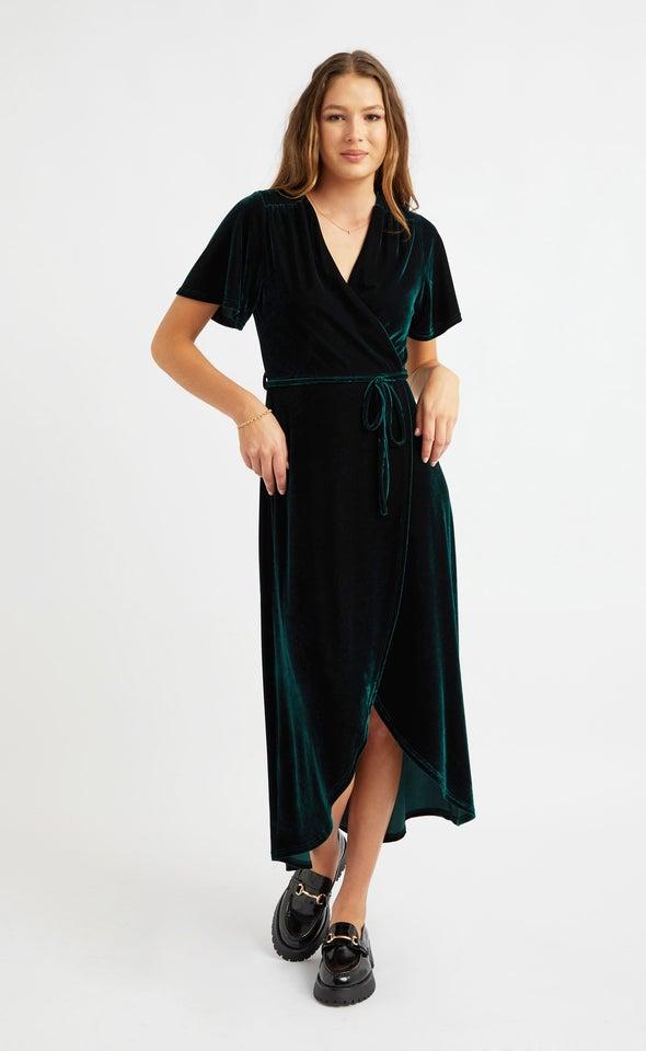 Velvet Flutter Sleeve Wrap Dress Emerald