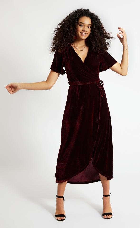 Velvet Flutter Sleeve Wrap Dress Maroon