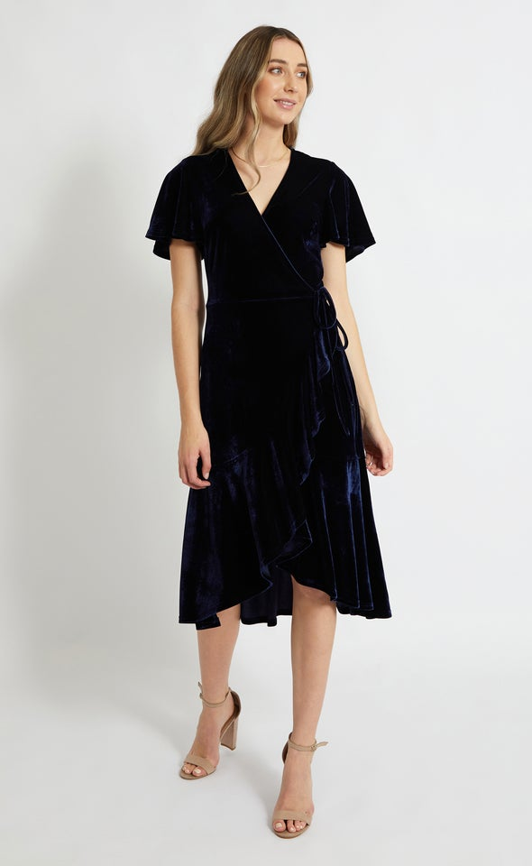 Velvet Flutter Sleeve Wrap Dress