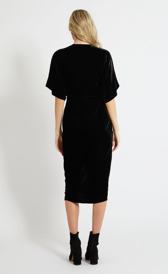 Velvet Kimono Sleeve Dress Black