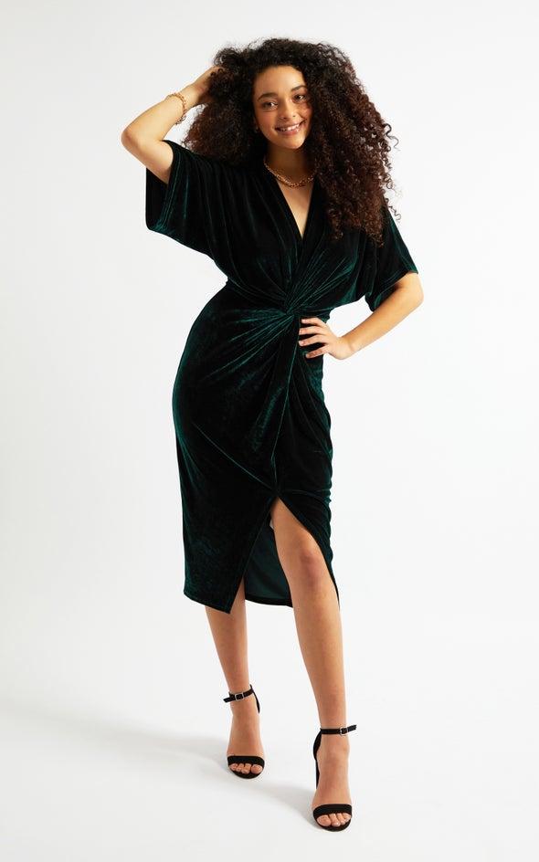 Velvet Kimono Sleeve Dress Emerald