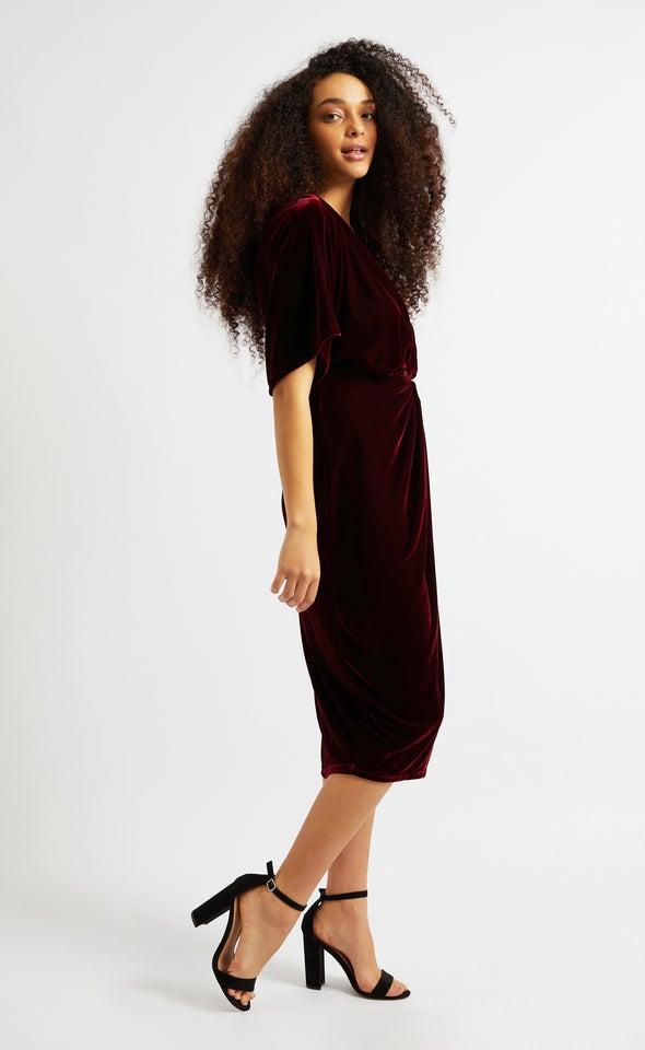 Velvet Kimono Sleeve Dress Maroon