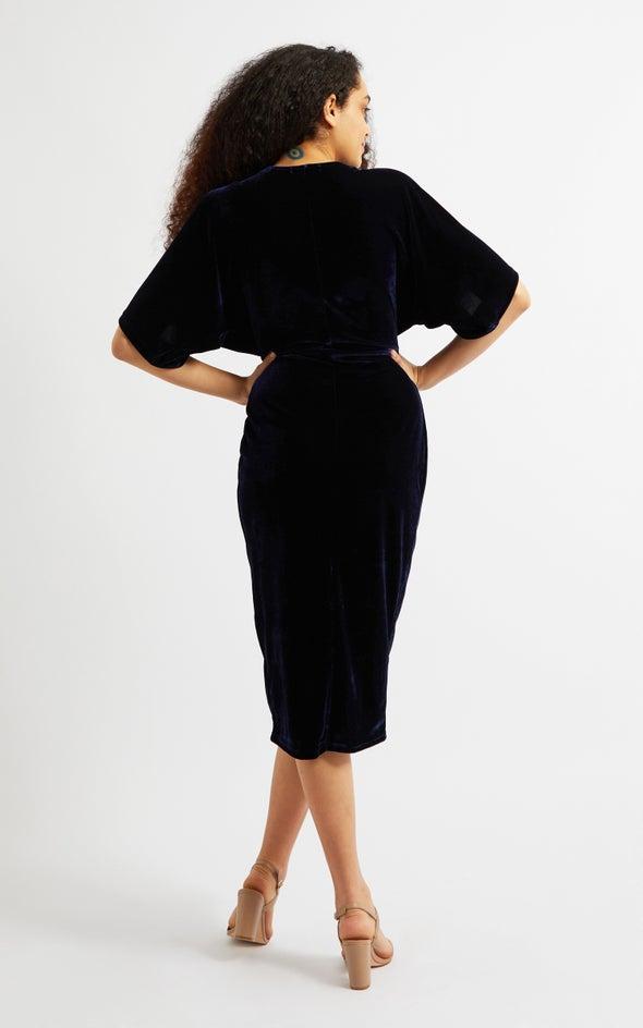 Velvet Kimono Sleeve Dress Navy