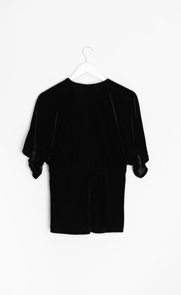 Velvet Kimono Sleeve Top Black