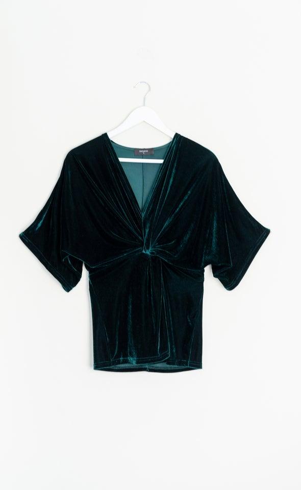 Velvet Kimono Sleeve Top Emerald