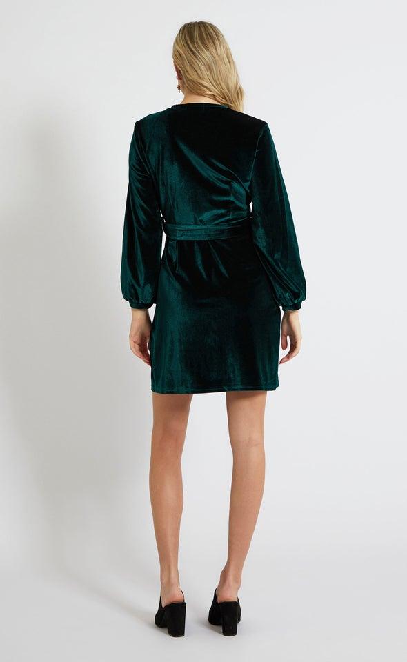 Velvet LS Tie Wrap Dress Emerald