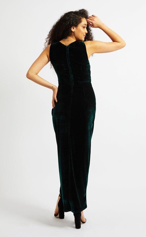 Velvet Pleated Detail Gown Emerald