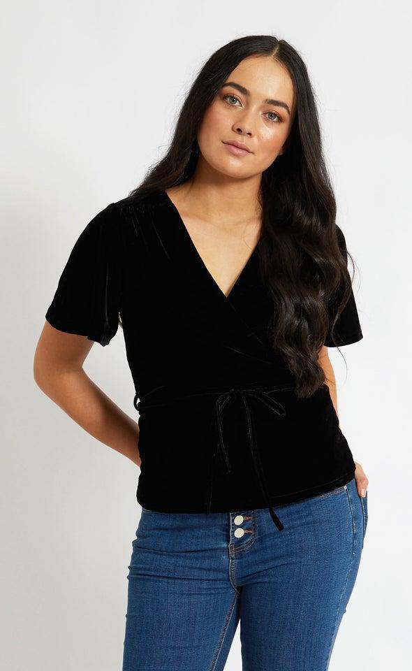 Velvet Tie Wrap Top Black