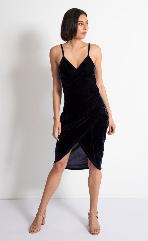 Velvet Tulip Hem Wrap Dress Navy