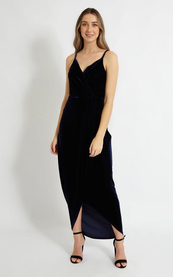 Velvet Wrap Tulip Gown Navy