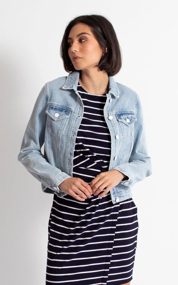 White Button Denim Jacket Blue