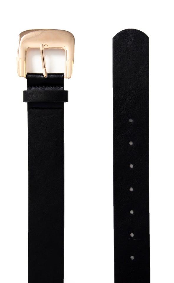 Wide Buckle Jean Belt Gold/black