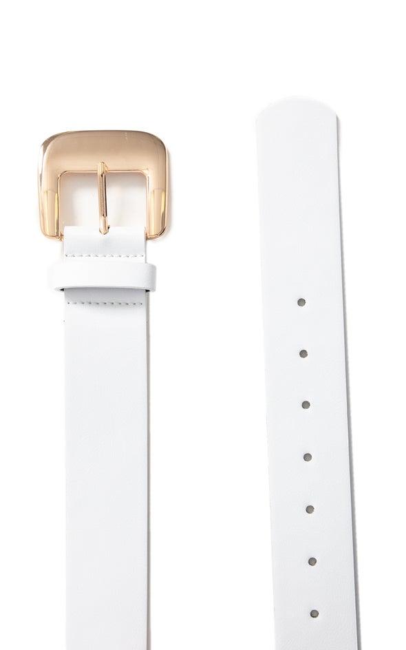 Wide Buckle Jean Belt Gold/white