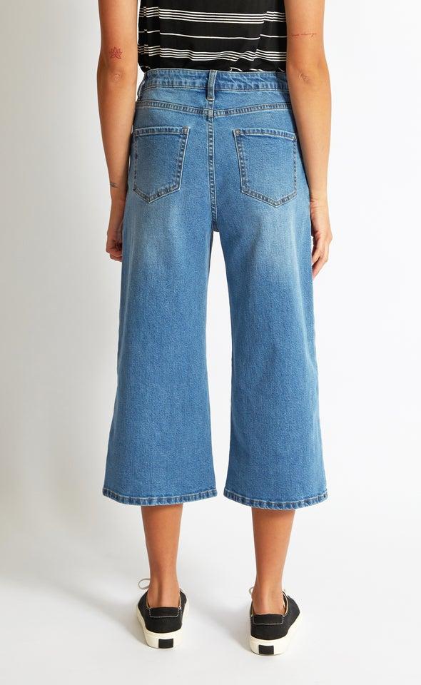 Wide Leg Denim Culottes Blue