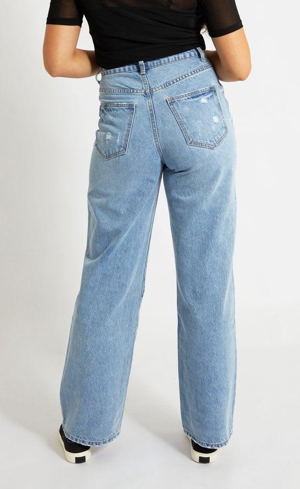 Wide Leg High Rise Jeans Blue