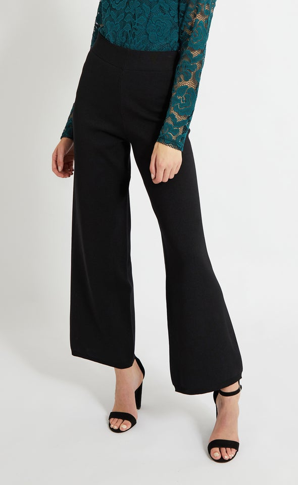 Wide Leg Knitwear Pants Black