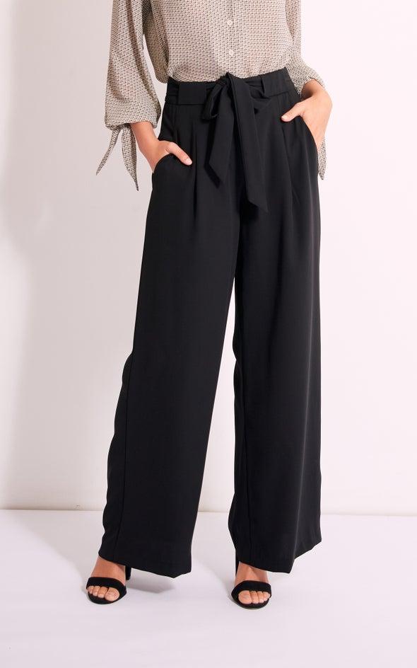 Wide Leg Pleat Pants Black