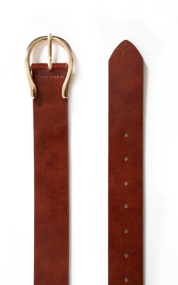 Wishbone Buckle Belt Gold/tan