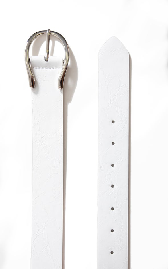 Wishbone Buckle Belt Silver/white