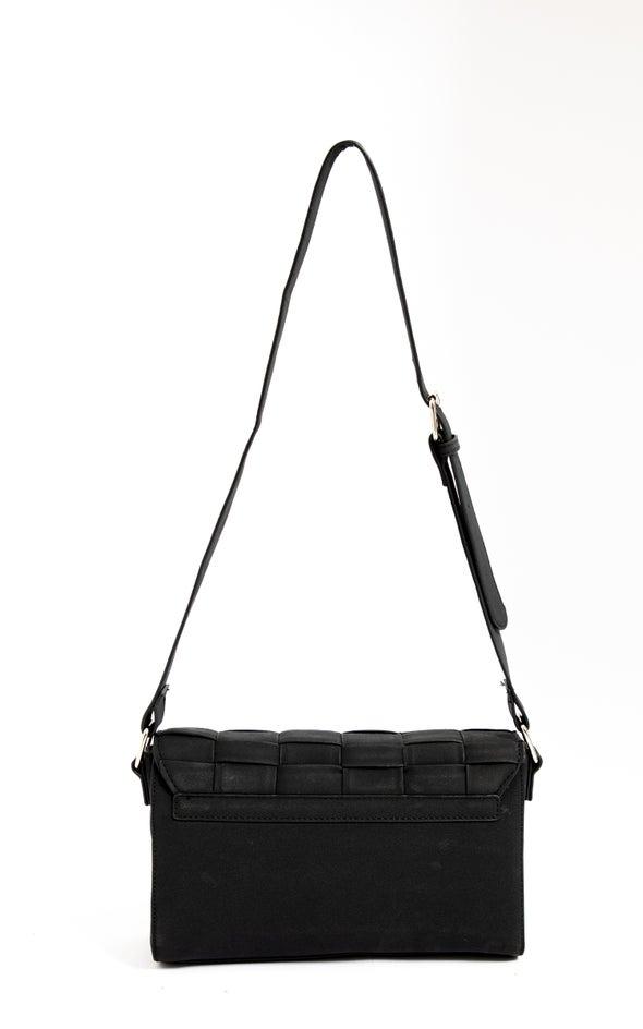 Woven Cross Body Bag Black