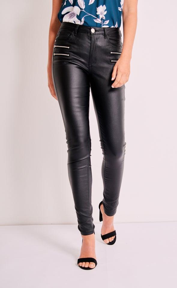 Zip Detail Coated Jean