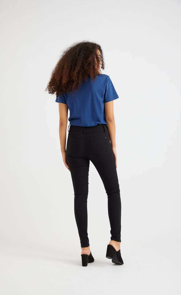 Zip Detail Hi Waist Pant Black