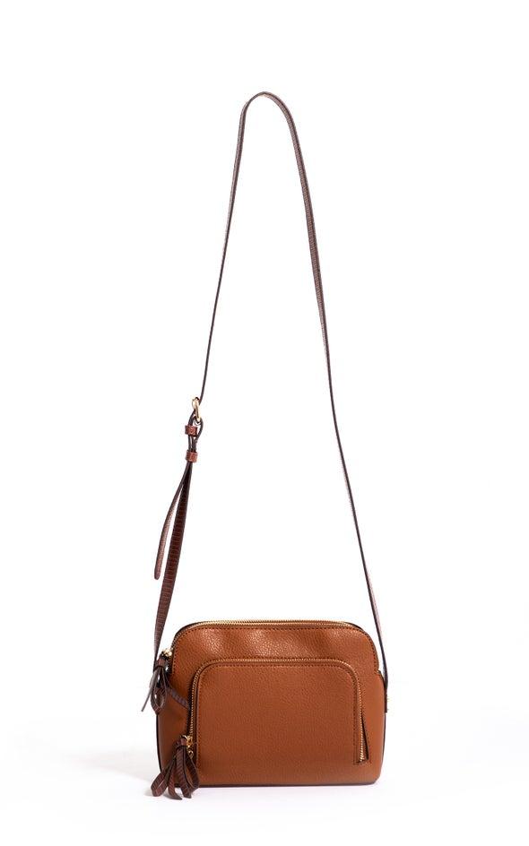 Zip Front Handbag Tan