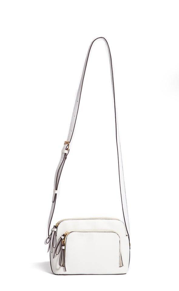 Zip Front Handbag White