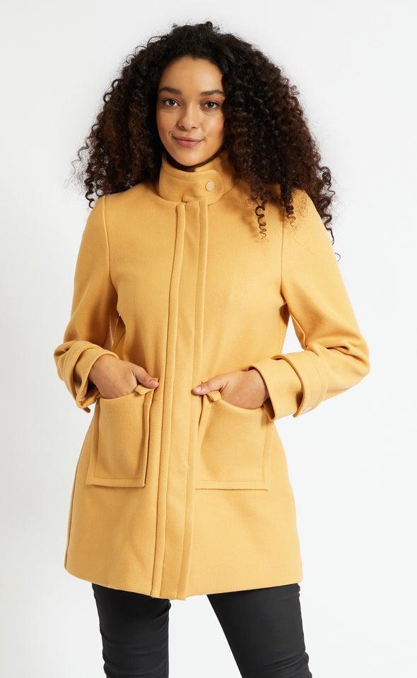 Zip Front Tab Collar Coat Camel