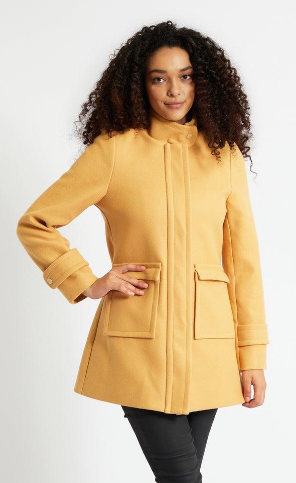 Zip Front Tab Collar Coat