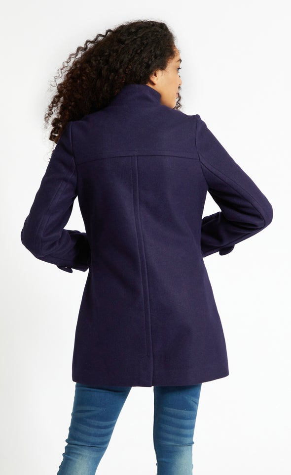 Zip Front Tab Collar Coat Ink