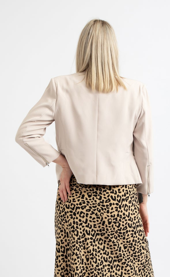Zip Sleeve Tailored Blazer Almond Buff