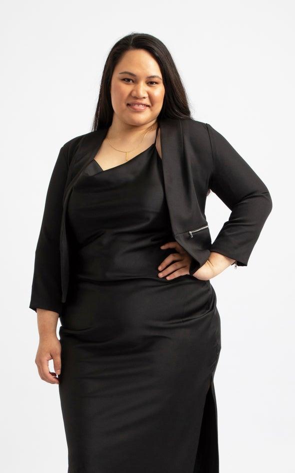 Zip Sleeve Tailored Blazer Black
