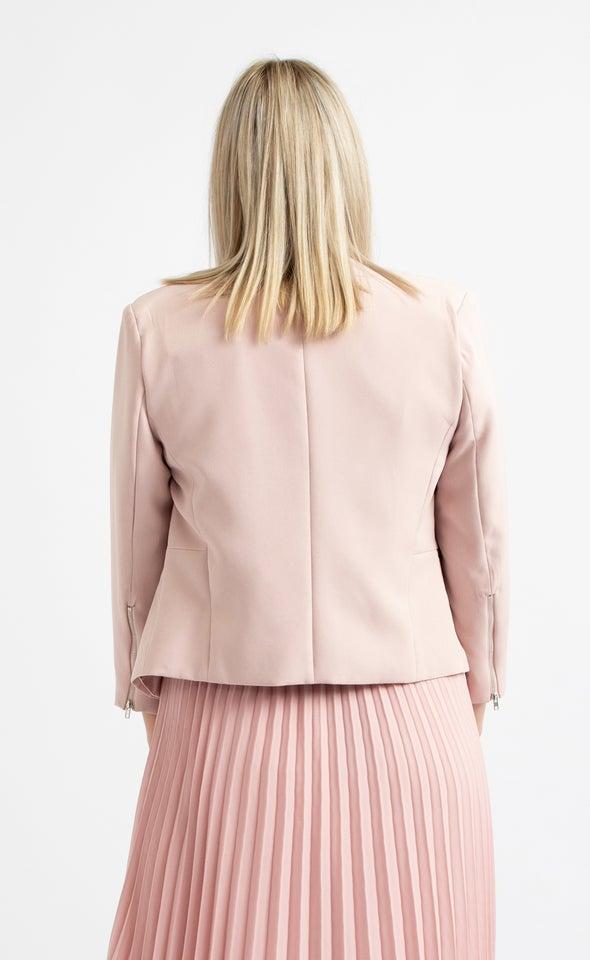 Zip Sleeve Tailored Blazer Blush